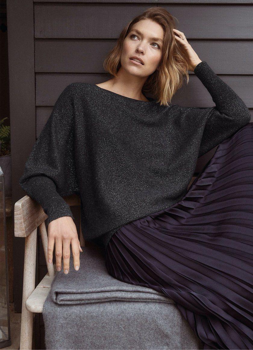 cashmere rich sparkle batwing sweater