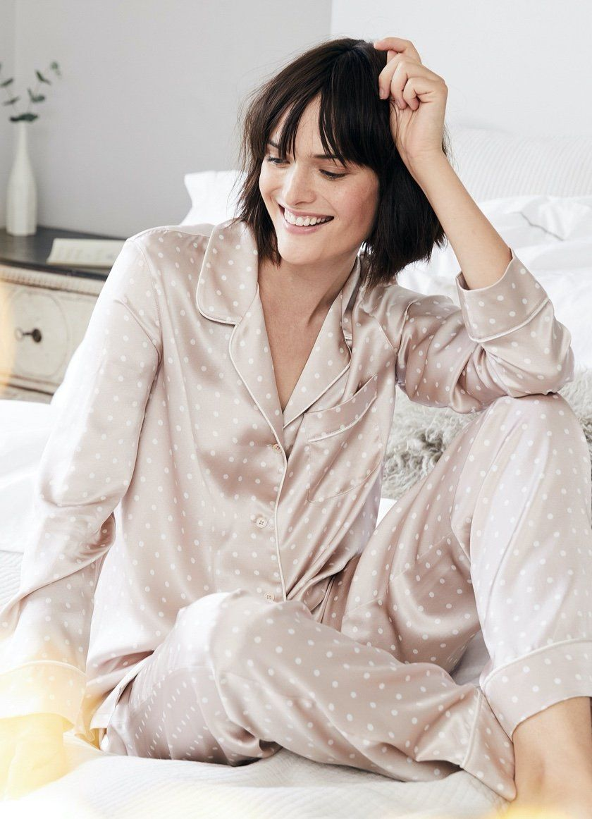 pink silk spotted pajama set